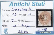 ANTICHI STATI - LOMBARDO VENETO - LV0066 - NR. 45 USATO - CATALOGO 300€