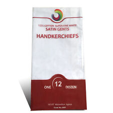 Mens Quality 12 Pack Plain White Handkerchiefs With Satin Borders 100%Cotton