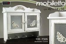 Mobile Pensile Cucina In Legno 42x14x36Cm Design Shabby Chic - F25