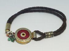 Vintage Sterling Silver Red Glass Evil Eye Woven Leather Cord Bracelet