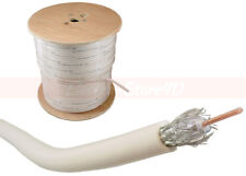 500ft RG6 Dual Shield Coaxial Cable White Wire TV Antenna Satellite 18AWG Spool
