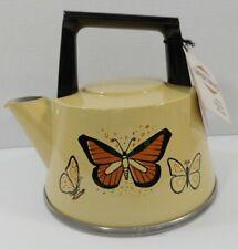 NWT Vtg West Bend Yellow Enamel Aluminum Tea Pot Kettle Stove Butterflies USA