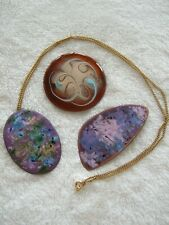 3 modern abstract copper enamel brooches pendants