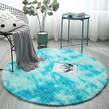 Round Circle Shaggy Floor Rug Soft Grey Sparkle Bedroom Area Mat Thick Long Pile