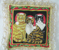 """Santa Cats Vintage Small Lightweight Lace Trimmed Decorative Pillow 9"""" x 9"""""""