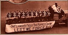 1921 ROTOGRAVURE  FLANDERS FIELD POPPIES AMERICAN LEGION PARADE FLOAT ASBURY PAR