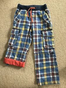 Lovely Boden Boys Blue Check Roll Up Trousers Age 5
