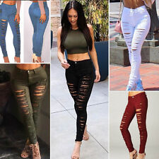 AU Women High Waist Skinny Jeggings Pencil Pants Slim Ripped Denim Jeans Trouser