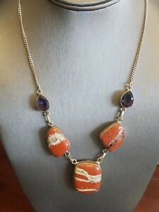"BEAUTIFUL Red Jasper, Amethyst Gemstone 925 Sterling Silver Necklace 18"" HEAVY"