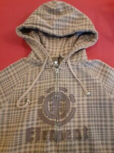 Vintage Element Skateboards Logo Hoodie Size Small Full Zip Brown Plaid No Flaws