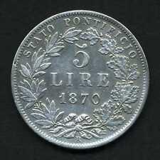 (109) VATICAN ET ÉTATS PONTIFICAUX 5 Lire Pie IX an XXIV 1870 Rome