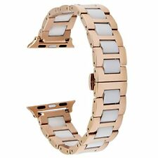 TRUMiRR Apple Watch Band for 38mm Stainless White Ceramics Link Strap Rose Gold