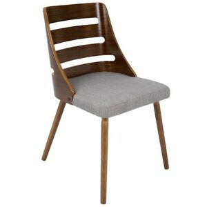 LumiSource Trevi Chair, Walnut Wood, Grey Fabric - CH-TRVWL-GY