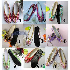 Women Chinese Floral Ballerina Slipper Ballet Slip On Shoe Flat Embroidered Pump