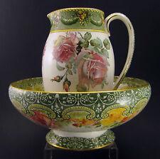 ROYAL DOULTON Pitcher & Bowl UNDERGLAZED INDESTRUCTIBLE FLOWERS Décor ca.1902-22