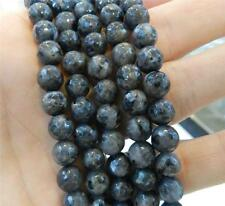 "Natural 10mm Faceted India Black Gray Labradorite Gems Round Loose Beads 15""AAA"
