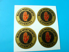 RUDGE WHITWORTH Gold Vintage Classic Wire Wheel Motorcycle Stickers 4 off 25mm