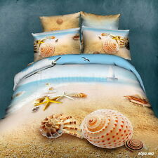 Sea Beach Quilt/Duvet/Doona Cover Set Queen Size Bed Linen Pillowcase 100%Cotton