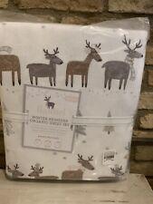 Pottery Barn Kids Christmas Holiday Winter Reindeer Flannel Queen Sheet Set