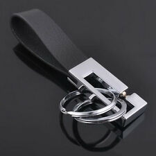 1PC Leather Belt Keychain Key Ring Holder Key Fob Buckle Clip 2 Loops Keyring