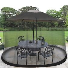 Outdoor Umbrella Screen 9 Foot Black Large Zippered Entrance Outdoor Party Table