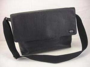 Men's Jack Spade New York Large Black Leather Messenger Bag Crossbody Tote Flap