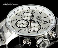 Invicta 48mm S1 Silver Sunray Dail Quartz Chronograph All SIlver Bracelet Watch!