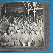 WW1 Stereoview Photo Smiling Faces Of 301st Infantry YMCA Camp Devens Underwood