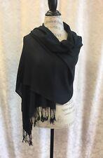 Pashmina Shawl BLACK Silk Scarf Women Wrap Classic Soft Blended Fabric