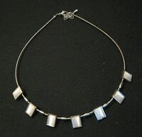 Lovely costume jewellery necklace in silver tone metal with square set stones