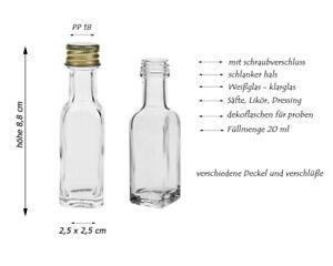 24 x 20 ml leere mini Glasflaschen Eckig Maraska Likörflaschen Proben Gold