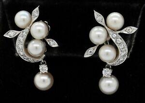Antique 18K WG 1.0CT VS1/F-G diamond & pearl floral dangle clip-on earrings
