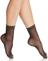 F36 - Fogal Keira of Switzerland Gold or Silver Glitter Sheer Mesh Socks S/M - L