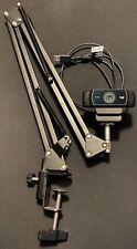 Logitech C922 Pro Stream 1080p Webcam For HD Streaming W/ Desk Boom Swivel Mount