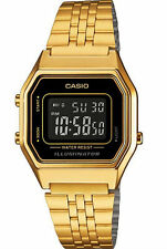 LA680WGA-1B Golg Black Casio Stainless Steel Watch Lady Stopwatch Alarm Digital