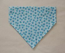 TURQUOISE PAW PRINTS ON BLUE DOG SCARF--LARGE