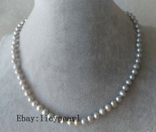 Perle Halskette, 5-6 mm Grau Süßwasser-Perle Halskette , Magnet Schließe