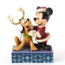 Jim Shore Disney Traditions Santa Mickey w/Pluto Figurine ~ 4039033