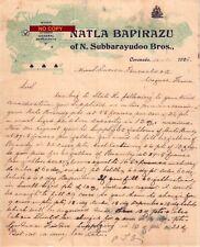 Document du 14/01/1926 NATLA BAPIRAZU Vins spiritueux - Cacanada (Kakinada) INDE