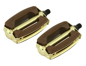 "BRAND NEW! Krate Bicycle Pedals Brown & Gold 1/2"" Chopper Cruiser Bike Lowrider"