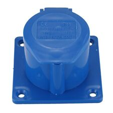 3X(AC 220-250V 16A 2P+E IEC309-2 Panel Mount Industrial Socket Blue S6R7)