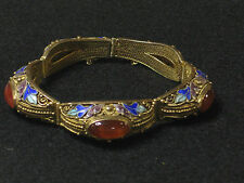 Vintage Chinese Export Carnelian Enamel Sterling Vermeil  Bracelet Excellent