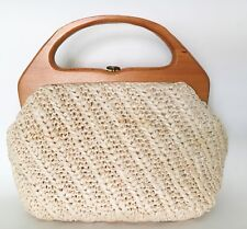VTG 50s 60s 70s Beige Ivory Raffia Wood Frame Clutch Purse Handbag-Japan