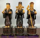 "14"" China Horns inlay Beef bone Carve 3 Longevity God Fu Lu Shou Life Statue Set"