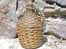 Old Wicker Wrapped Italian Wine Jug Demijohn bottle 0734