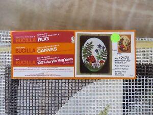 """Vintage Bucilla """"Mushroom Oval"""" Latch Hook Rug Canvas"""