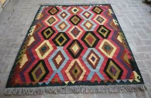 5'2 x 6'9 Handmade Afghan Tribal Best Khotrang Wool Persian Pink Area Kilim Rug