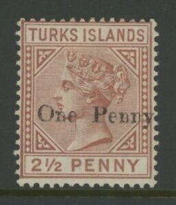 TURKS ISLAND, MINT, #55, OG HR, WMK 2, CLEAN, SOUND & CENTERED
