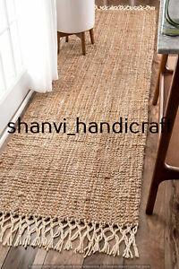 Jute Rug Home Decor Floor Handmade Jute Runner Rug Boho Solid Area Rug 2x8 Feet