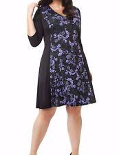Isabel + Alice Stretch Knit Lavender Baroque Floral A Line Dress SZ 4X (26W-28W)